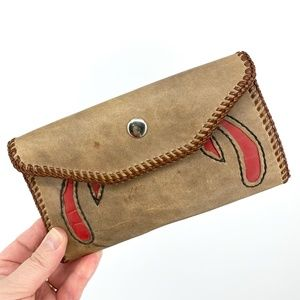 VINTAGE Handmade Stitched Leather Wallet Clutch